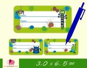 24 Heftaufkleber 3,0 x 6,5 cm | Monster grün | Schuletiketten zum selber beschriften - Handarbeit kaufen