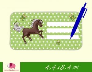 12 Heftaufkleber 4,4 x 8,4 cm | Pferde Sternchen - grün | Schuletiketten zum selber beschriften   - Handarbeit kaufen
