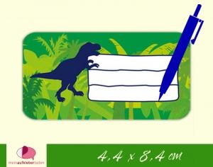 12 Heftaufkleber 4,4 x 8,4 cm | T-Rex | Schuletiketten zum selber beschriften - Handarbeit kaufen