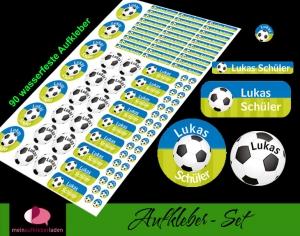 Schulstarterset - 90 Aufkleber | Fußball blau-grün - personalisierbar | Namensaufkleber, Schuletiketten - Handarbeit kaufen