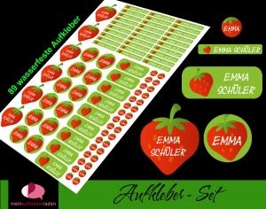 Schulstarterset - 89 Aufkleber | Erdbeere - personalisierbar | Namensaufkleber, Schuletiketten  - Handarbeit kaufen
