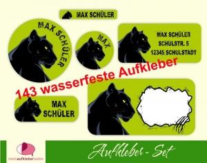 Schulaufkleberset  | Schwarzer Panther - 143 Aufkleber - personalisierbar | Namensaufkleber, Schuletiketten