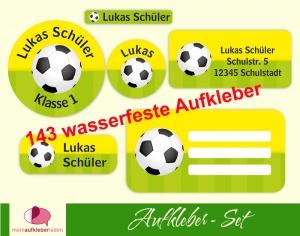 Schulaufkleberset  | Fußball gelb-grün - 143 Aufkleber - personalisierbar | Namensaufkleber, Schuletiketten   - Handarbeit kaufen