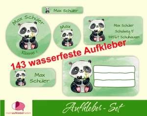 Schulaufkleberset  | Pandabär - Watercolor - 143 Aufkleber - personalisierbar | Namensaufkleber, Schuletiketten - Handarbeit kaufen