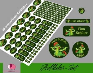Schulstarterset - 90 Aufkleber | Babydrache grün - personalisierbar | Namensaufkleber, Schuletiketten  - Handarbeit kaufen