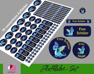 Schulstarterset - 90 Aufkleber | Babydrache blau - personalisierbar | Namensaufkleber, Schuletiketten   - Handarbeit kaufen