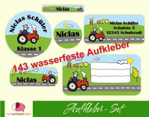 Schulaufkleberset  | Traktor - 143 Aufkleber - personalisierbar | Namensaufkleber, Schuletiketten   - Handarbeit kaufen