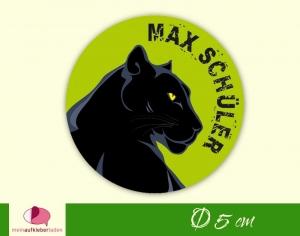 30 Namensaufkleber | Schwarzer Panther | runde Namensetiketten, Schuletiketten  - Handarbeit kaufen