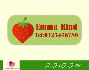 52 Namensaufkleber  | Erdbeere | eckig - personalisierbar | Namensetiketten, Schuletiketten  - Handarbeit kaufen