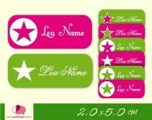 52 Namensaufkleber  | Stern pink-grün | eckig - personalisierbar | Namensetiketten, Schuletiketten - Handarbeit kaufen