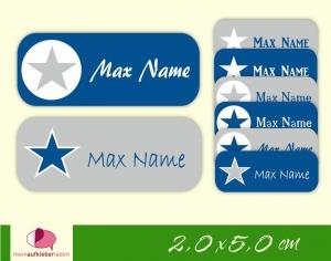 52 Namensaufkleber  | Stern blau-grau | eckig - personalisierbar | Namensetiketten, Schuletiketten - Handarbeit kaufen