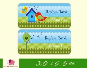24 Namensaufkleber  | Bunte Vögelchen - blau grün | eckig - personalisierbar | Namensetiketten, Schuletiketten   - Handarbeit kaufen