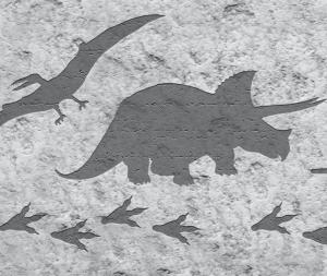 Kinderbordüre - selbstklebend | Dinos auf Steinoptik - 18 cm Höhe | Vlies Bordüre mit T-Rex, Langhals, Stegosaurus, Flugsaurier  - Handarbeit kaufen