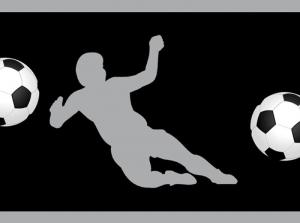 Wandbordüre - selbstklebend | Fußballspieler - 18 cm Höhe | Vlies Bordüre mit Fußbällen und Spieler - verschiedene Farbvarianten  - Handarbeit kaufen