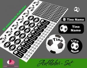 Schulstarterset - 90 Aufkleber | Fußball schwarz - personalisierbar | Namensaufkleber, Schuletiketten  - Handarbeit kaufen