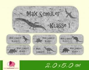 52 Namensaufkleber  | Dino Fossilien - grau | eckig - personalisierbar | Namensetiketten, Schuletiketten  - Handarbeit kaufen
