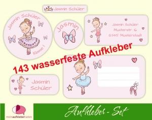 Schulaufkleberset    Kleine Ballerina - rosa - 143 Aufkleber - personalisierbar   Namensaufkleber, Schuletiketten  - Handarbeit kaufen