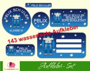 Schulaufkleberset  | Transformator Roboter - blau - 143 Aufkleber - personalisierbar | Namensaufkleber, Schuletiketten  - Handarbeit kaufen