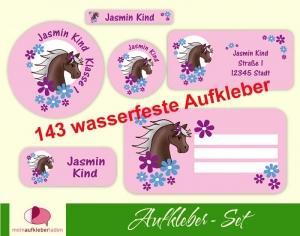 Schulaufkleberset  | Pony Blumen - rosa - 143 Aufkleber - personalisierbar | Namensaufkleber, Schuletiketten   (Kopie id: 100260215) - Handarbeit kaufen