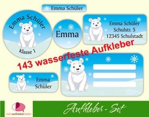 Schulaufkleberset  | Eisbär - 143 Aufkleber - personalisierbar | Namensaufkleber, Schuletiketten - Handarbeit kaufen