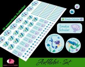 Schulstarterset - 90 Aufkleber | Meerjungfrau - Watercolor - personalisierbar | Namensaufkleber, Schuletiketten  - Handarbeit kaufen