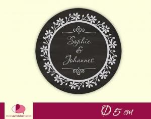 Aufkleber zur Hochzeit - rund: Ornament Vintage - schwarz | Tafeloptik, umweltfreundlich  - Handarbeit kaufen