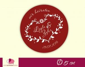 Aufkleber zur Hochzeit - rund: Ornament Herz - rot | umweltfreundlich - Handarbeit kaufen