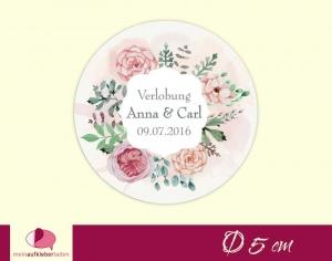 Aufkleber zur Hochzeit - rund: Blumenkranz Rosen - rosa | umweltfreundlich - Handarbeit kaufen