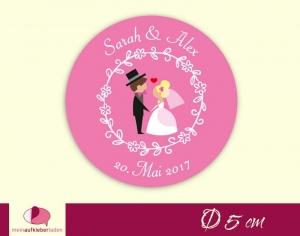 Aufkleber zur Hochzeit - rund: Brautpaar mit Herz - pink | umweltfreundlich  - Handarbeit kaufen