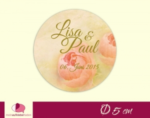Aufkleber zur Hochzeit - rund: Vintage Rose - lachs   umweltfreundlich  - Handarbeit kaufen