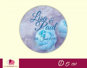 Aufkleber zur Hochzeit - rund: Vintage Rose - blau | umweltfreundlich - Handarbeit kaufen