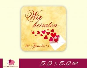 Aufkleber zur Hochzeit - eckig : Liebesbrief mit Herzchen - gelb -  Wir heiraten  | umweltfreundlich   - Handarbeit kaufen