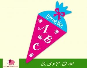 24 Aufkleber zur Einschulung: Schultüte Blümchen - pink blau | personalisierbar, umweltfreundlich, Formaufkleber - Handarbeit kaufen