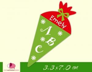 24 Aufkleber zur Einschulung: Schultüte Blümchen - grün rot | personalisierbar, umweltfreundlich, Formaufkleber  - Handarbeit kaufen