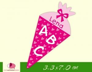 24 Aufkleber zur Einschulung: Schultüte Herzchen - pink rosa | personalisierbar, umweltfreundlich, Formaufkleber   - Handarbeit kaufen