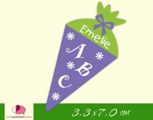 24 Aufkleber zur Einschulung: Schultüte Blümchen - lila grün | personalisierbar, umweltfreundlich, Formaufkleber  - Handarbeit kaufen