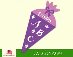 24 Aufkleber zur Einschulung: Schultüte Blümchen - lila flieder | personalisierbar, umweltfreundlich, Formaufkleber   - Handarbeit kaufen