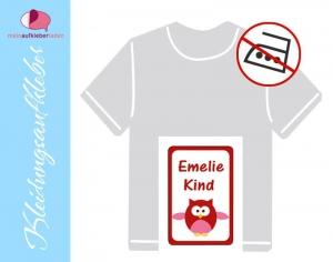 49 Textilaufkleber 1,7 x 2,6 cm | Eule - rot | personalisierbar, Kleidungsetiketten ohne Bügeln    - Handarbeit kaufen