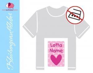 49 Textilaufkleber 1,7 x 2,6 cm | Herz rosa | personalisierbar, Kleidungsetiketten ohne Bügeln    - Handarbeit kaufen