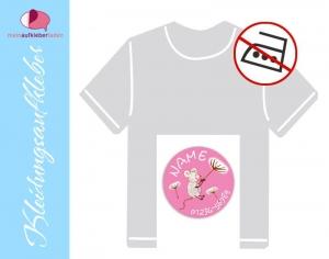 45 Textilaufkleber rund 2 cm | Maus rosa | personalisierbar, Kleidungsetiketten ohne Bügeln - Handarbeit kaufen