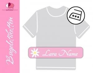 48 Bügeletiketten 1 x 5 cm   Blume - rosa   permanent,  personalisierbar, dauerhafte Kleidungsetiketten zum aufbügeln - Handarbeit kaufen