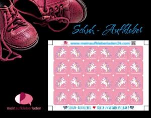 24 Schuhaufkleber | Einhorn rosa + Schutzfolie - personalisierbar | Namensaufkleber, Schuhetiketten    - Handarbeit kaufen
