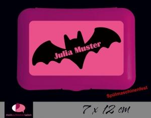 Aufkleber für Brotdosen | Fledermaus pink  | personalisierbar | große Namensetiketten, Schuletiketten  - Handarbeit kaufen