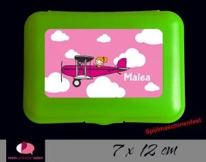 Aufkleber für Brotdosen | Flugzeug mit Mädchen - rosa | personalisierbar | große Namensetiketten, Schuletiketten - Handarbeit kaufen