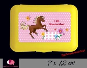Aufkleber für Brotdosen   Pferde Sternchen - rosa   personalisierbar   große Namensetiketten, Schuletiketten
