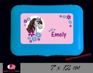 Aufkleber für Brotdosen | Pony Blumen - rosa | personalisierbar | große Namensetiketten, Schuletiketten   - Handarbeit kaufen