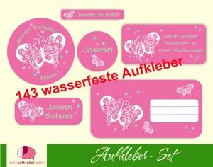 Schulaufkleberset    Schmetterlinge rosa - 143 Aufkleber - personalisierbar   Namensaufkleber, Schuletiketten  - Handarbeit kaufen