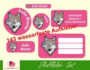 Schulaufkleberset  | Wolf pink - 143 Aufkleber - personalisierbar | Namensaufkleber, Schuletiketten  - Handarbeit kaufen