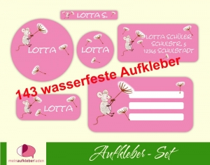 Schulaufkleberset  | Maus rosa - 143 Aufkleber - personalisierbar | Namensaufkleber, Schuletiketten  (Kopie id: 100263520) - Handarbeit kaufen
