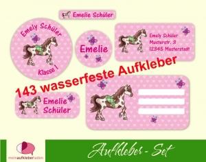 Schulaufkleberset  | Pferd Herzen - rosa - 143 Aufkleber - personalisierbar | Namensaufkleber, Schuletiketten  - Handarbeit kaufen